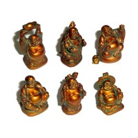 Laughing Buddha Statues Set of 6 - ANTIQUE