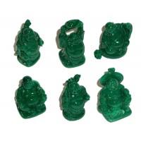 Laughing Buddha Statues Set of 6 - JADE