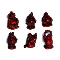 Laughing Buddha Statues Set of 6 - REDDISH BROWN