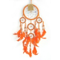 Small Dream Catcher - BEADED Orange