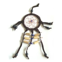 Mini Dream Catcher SUEDE 6cm - Brown