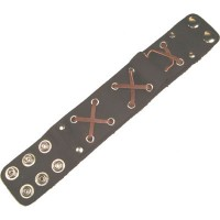 Leather Wristband - WIDE CROSSES BROWN