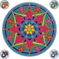 Decal / Window Sticker - Sunseal OHM FLOWER MANDALA