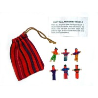 Worry Doll - 6 X MINI WORRY DOLLS in TEXTILE BAG