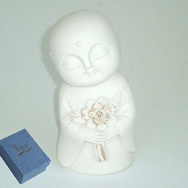Jizo Holding Flowers - Ivory
