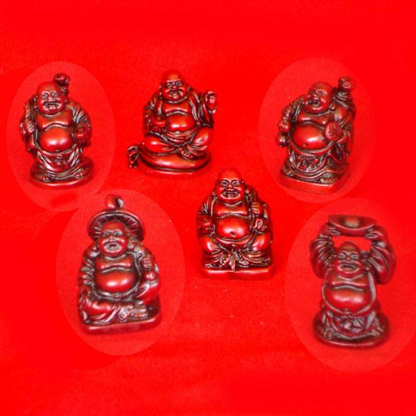Laughing Buddha Mini Statues Set of 6 - REDDISH BROWN