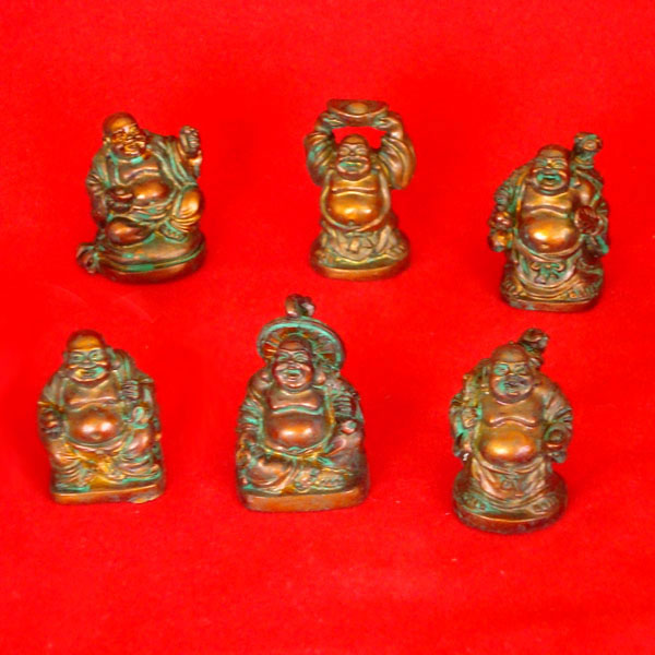 Laughing Buddha Mini Statues Set of 6 - ANTIQUE