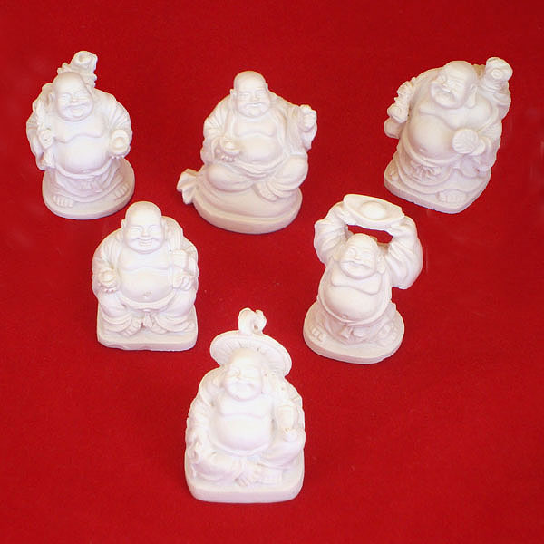 Laughing Buddha Mini Statues Set of 6 - IVORY