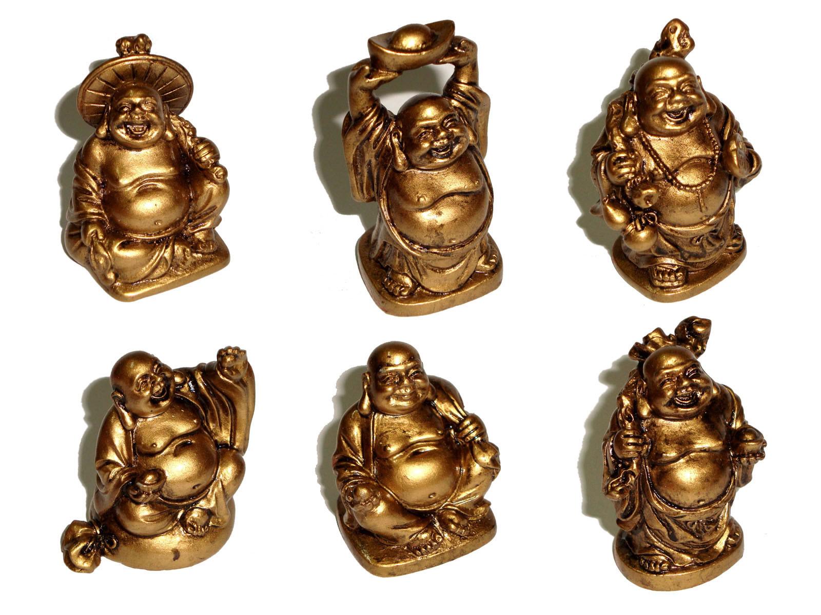 Laughing Buddha Mini Statues Set of 6 - BRONZE