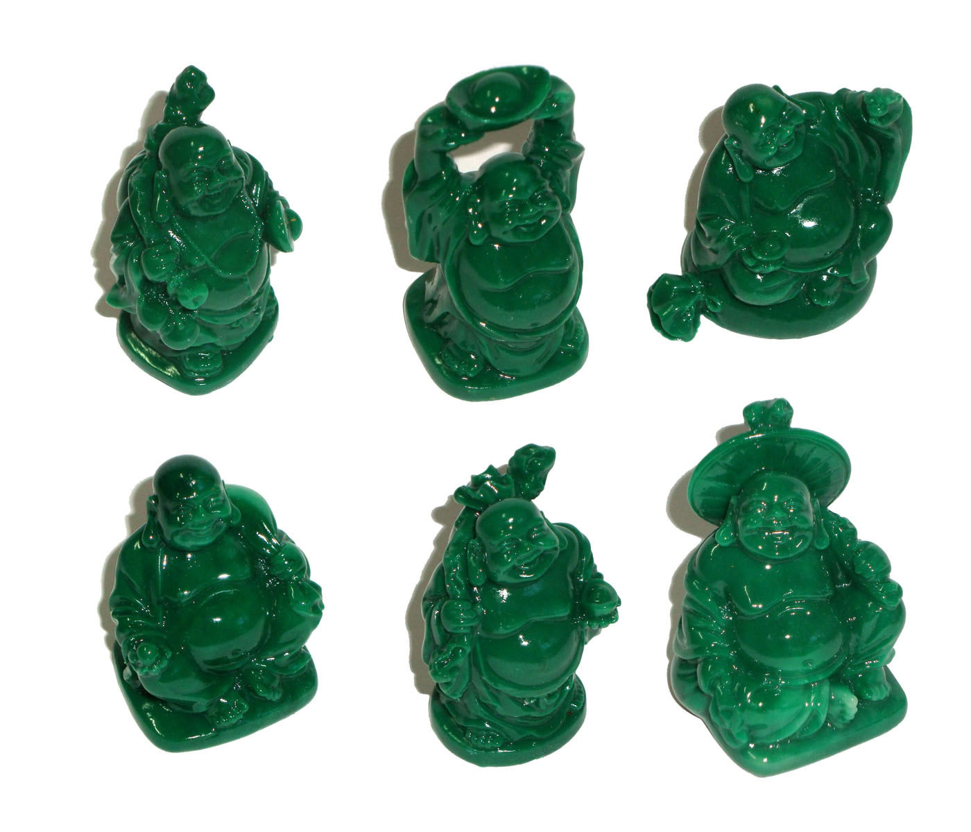 Laughing Buddha Statues Set of 6 - JADE