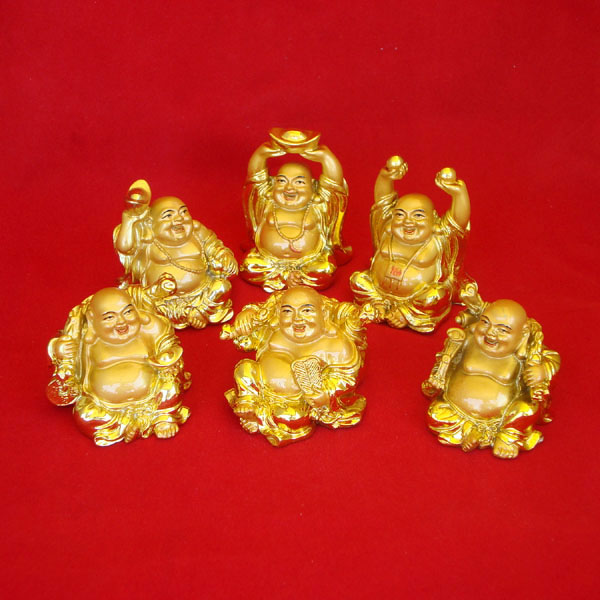 Laughing Buddha Statues Gold Set of 6