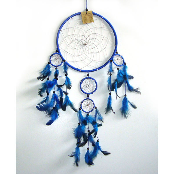 Large Dream Catcher SILVER WEB - Blue