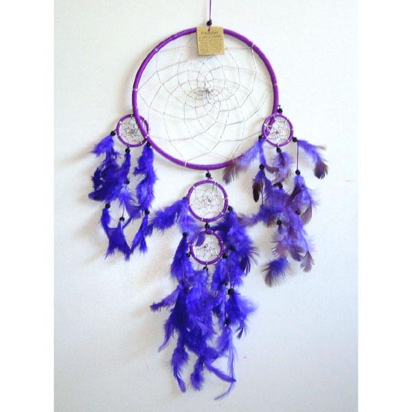 Large Dream Catcher SILVER WEB - Purple