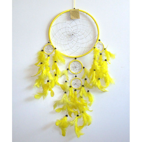 Large Dream Catcher SILVER WEB - Yellow