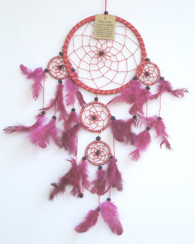 Large Dream Catcher - Silver Striped RED