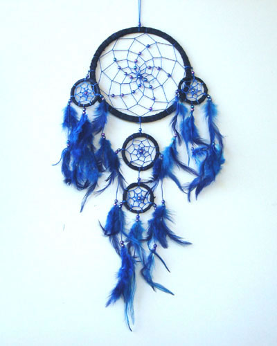 Dream Catchers With Beads Medium Dream Catcher Suede With Beads Blue MagicEssenceau 12