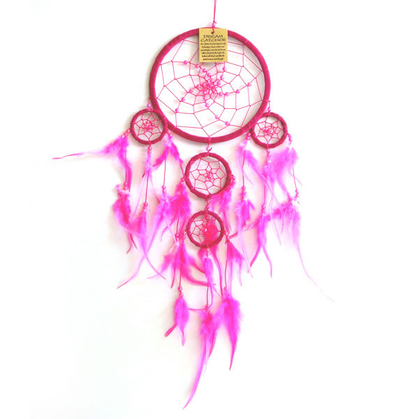 Medium Dream Catcher - SUEDE with Beads PINK