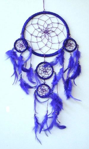 Medium Dream Catcher - SUEDE with Beads PURPLE