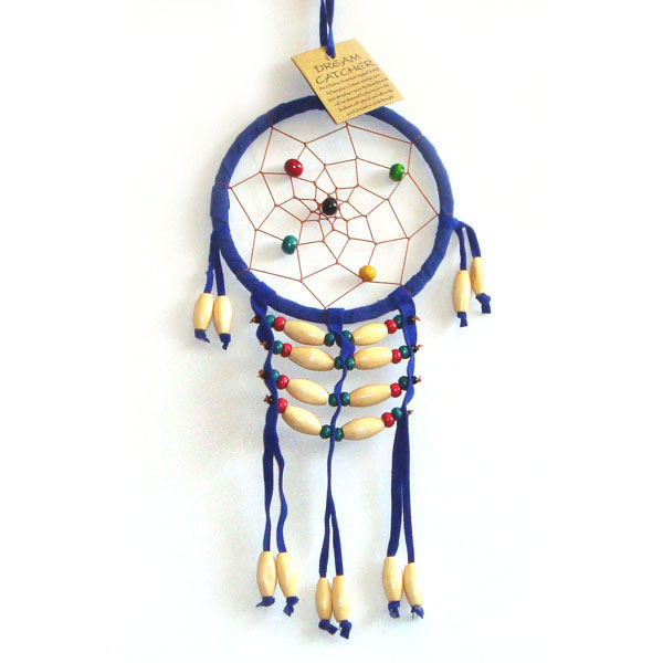 Small Dream Catcher - SUEDE WOODEN BEADS Blue