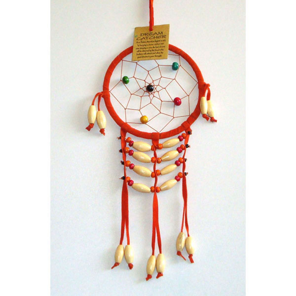 Small Dream Catcher - SUEDE WOODEN BEADS Orange