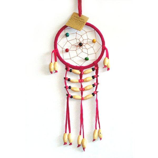 Small Dream Catcher - SUEDE WOODEN BEADS Pink