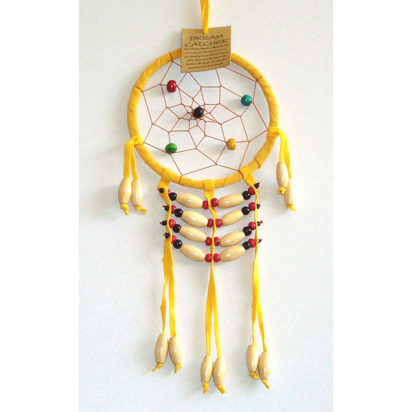 Small Dream Catcher - SUEDE WOODEN BEADS Yellow