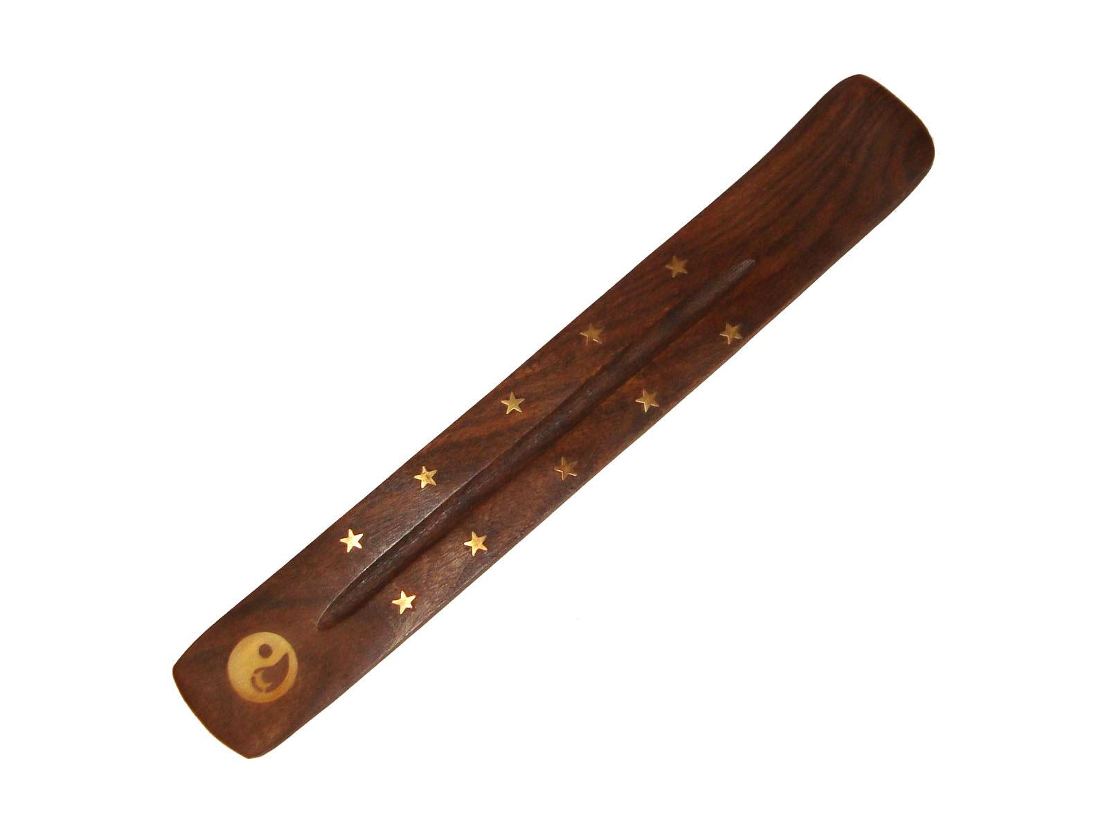 Incense Holder Wooden Flat Ashcatcher - YING YANG