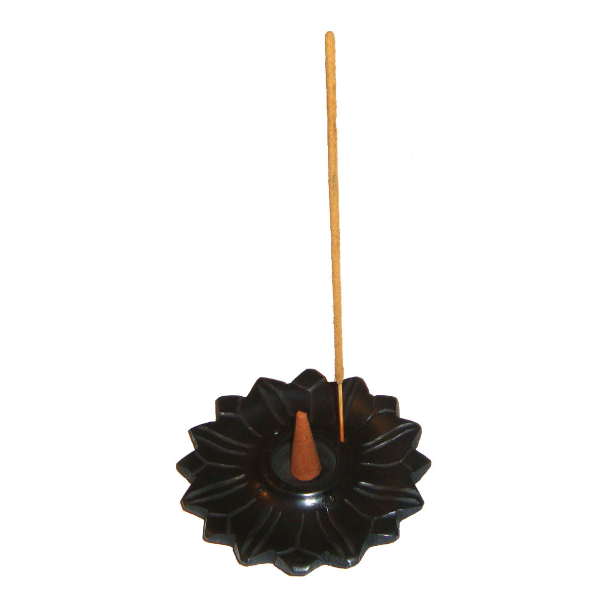 Black Stone Incense Stick and Cone Burner - LOTUS