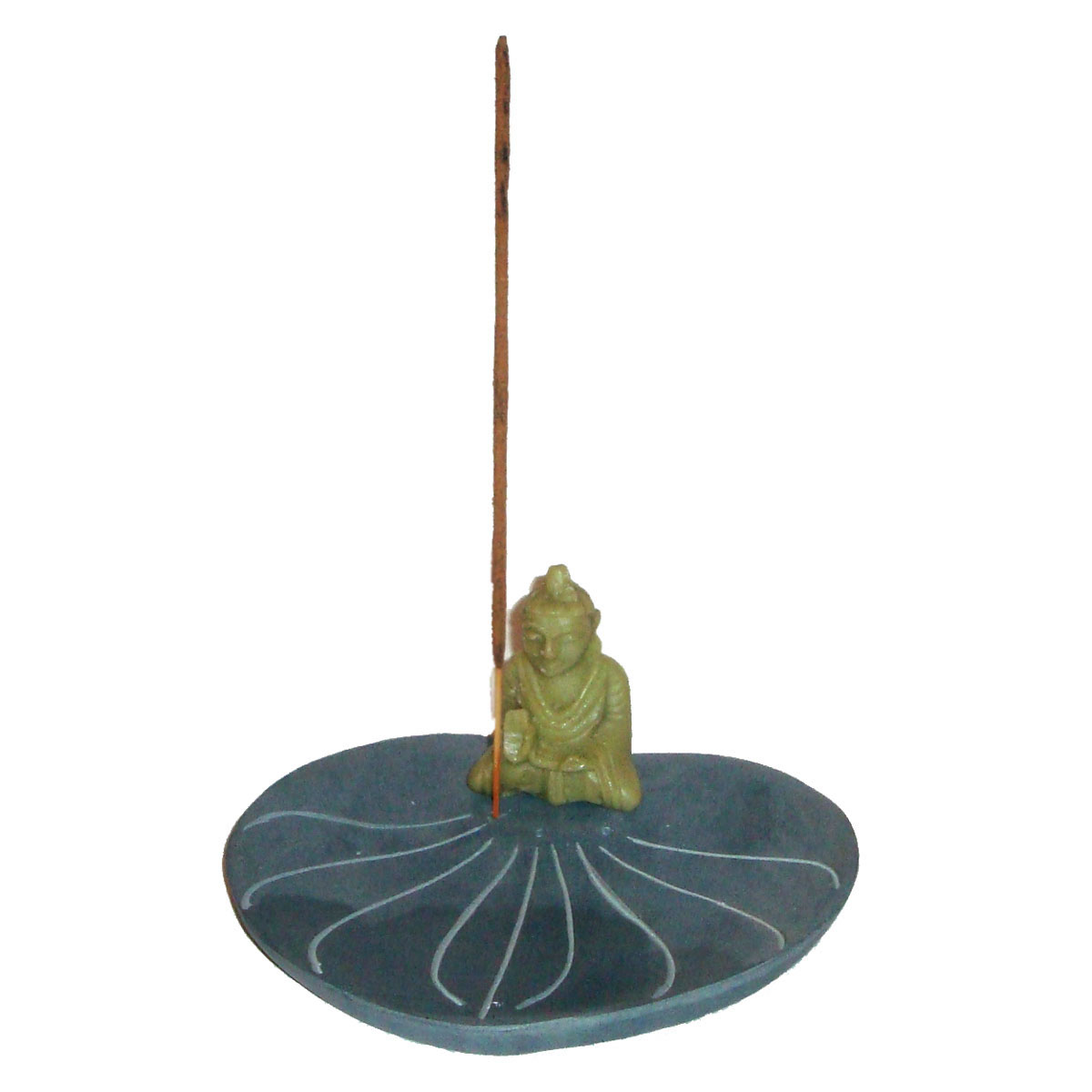 Incense Holder and Cone Burner - BUDDHA on STONE LEAF