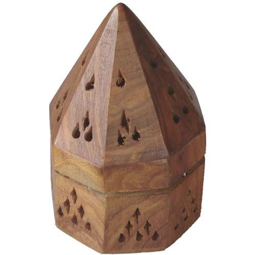 Incense Cone Holder Wooden Hut Hexagonal