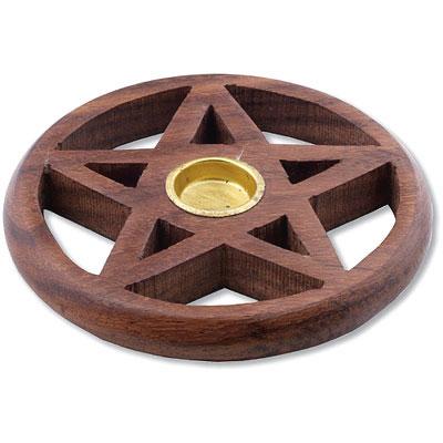 Wooden Incense Cone Burner - Pentagram