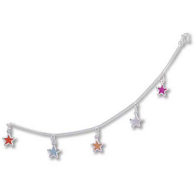 Anklet - White Metal COLOURED STARS