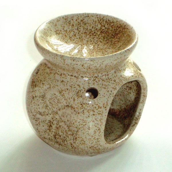 Small Oil Burner - Flower - Beige