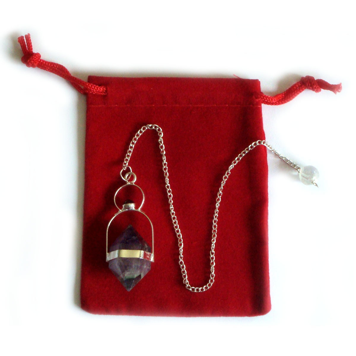 Crystal Pendulum - AMETHYST HERIKMER with GARNET CAB