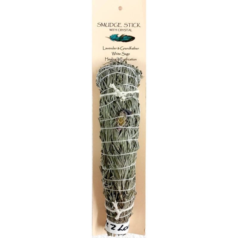 Crystal Magic Smudge Stick - Lavender & Grandfather White Sage