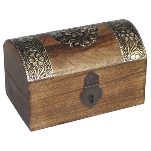 Wooden jewellery box treasure chest small magicessence