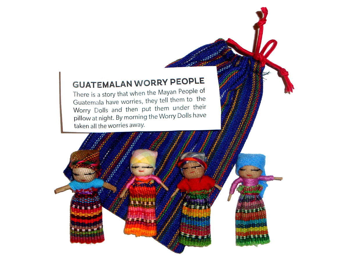 Worry Doll - 4 x BIG WORRY DOLLS in TEXTILE BAG
