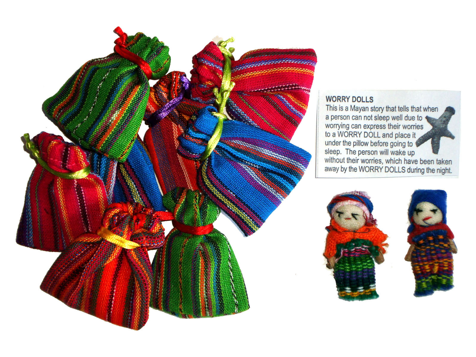 Worry Doll - 2 x SMALL WORRY DOLLS in TEXTILE BAG