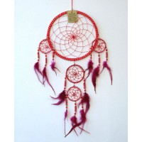 Large Dream Catcher - Silver Striped Beaded RED