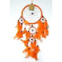 Medium Dream Catcher - SILVER STRIPED Orange