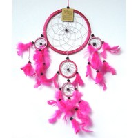Medium Dream Catcher - SILVER STRIPED Pink