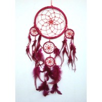 Medium Dream Catcher - SUEDE with Beads RED