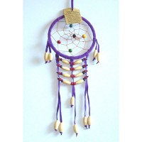 Small Dream Catcher - SUEDE WOODEN BEADS Purple