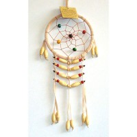 Small Dream Catcher - SUEDE WOODEN BEADS Tan