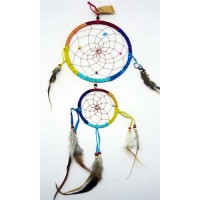 X-Large Dream Catcher - SUEDE TWO RING Rainbow