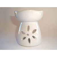 Small Oil Burner - Cut Flower - White