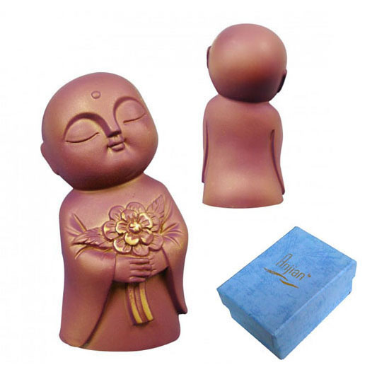 Jizo Holding Flowers - Antique Purple