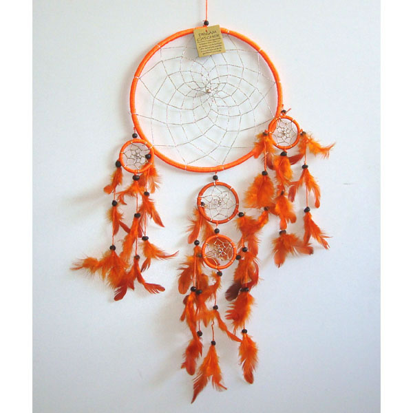 Large Dream Catcher SILVER WEB - Orange