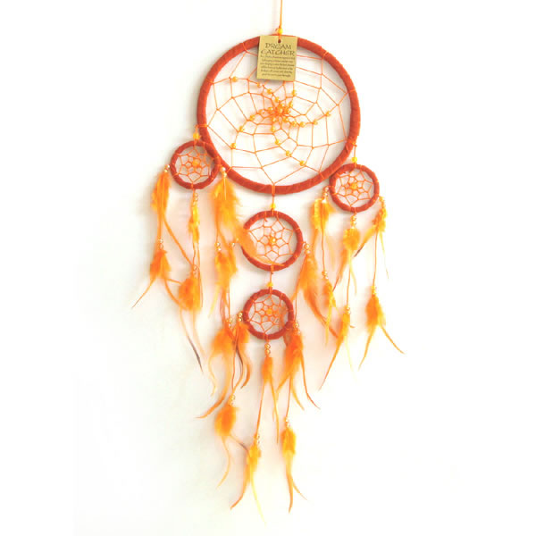 Medium Dream Catcher - SUEDE with Beads ORANGE