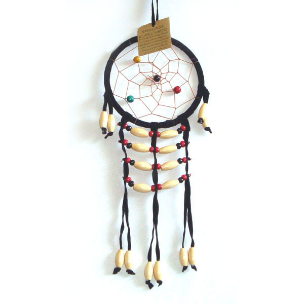 Small Dream Catcher - SUEDE WOODEN BEADS Black